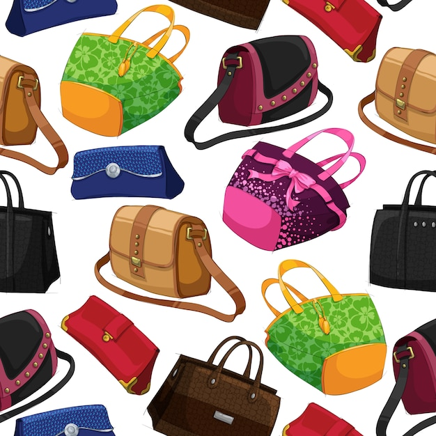 Seamless woman's fashion bags background Free Vector