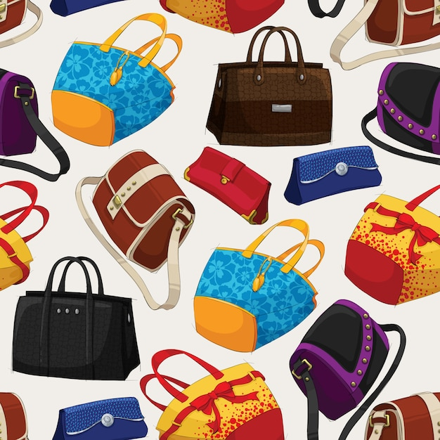 Seamless woman's fashion bags pattern Free Vector