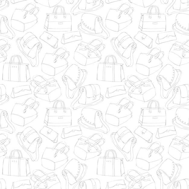 Seamless woman's stylish bags sketch Free Vector