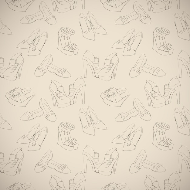Seamless woman's stylish shoes sketch pattern Free Vector