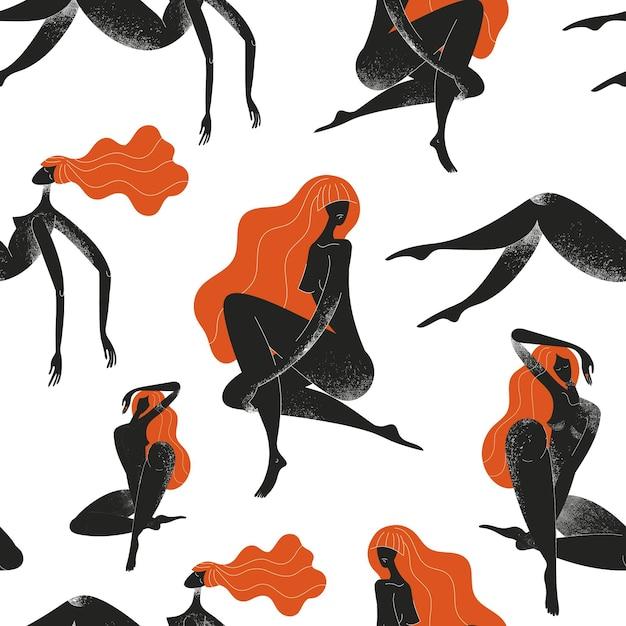 Бесшовные модели силуэтов женщин. международный женский день. черный и красный, красота, уход за телом фон Premium векторы
