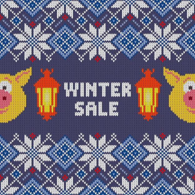 Seamless woolen knitted christmas pattern Premium Vector