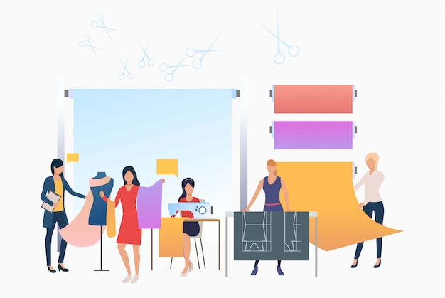 Seamstress, designers and dressmakers working in tailor shop Free Vector