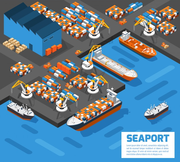 Seaport isometric aerial view poster Free Vector