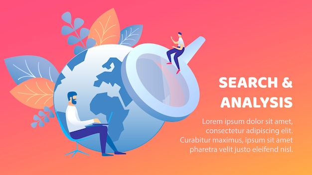 Search and analysis flat banner vector template Premium Vector