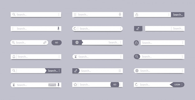 Search bar. address search field, interface bar ui navigation, web concept with tab text boxes, mobile bar page elements  symbols set. internet browser ui searching panels template Premium Vector