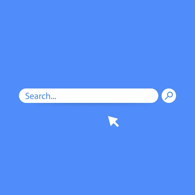 Search bar  element design, search boxes ui template isolated on blue background. Premium Vector