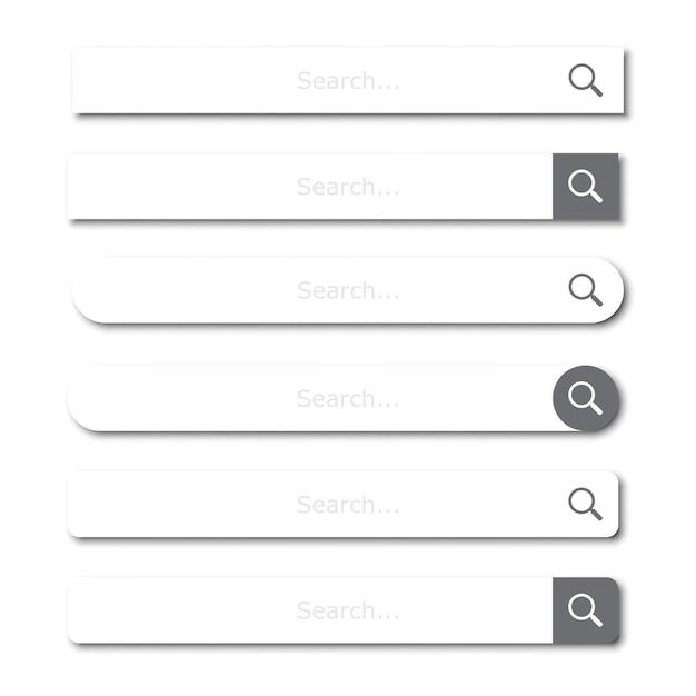 Набор элементов панели поиска или поля поиска с тенью Premium векторы