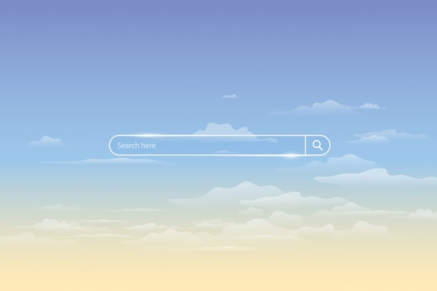 Search bar on sky, simple search box field ui element Premium Vector