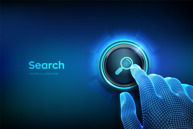 Search button. closeup finger about to press a button with search icon. searching browsing internet data information networking concept. just push the button. vector illustration. Premium Vector