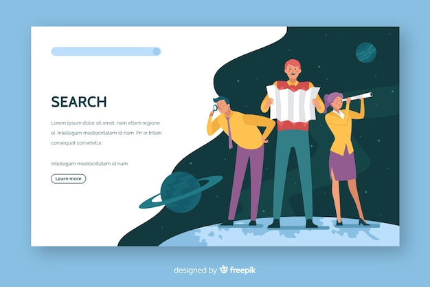 検索コンセプトランディングページフラットデザイン 無料ベクター