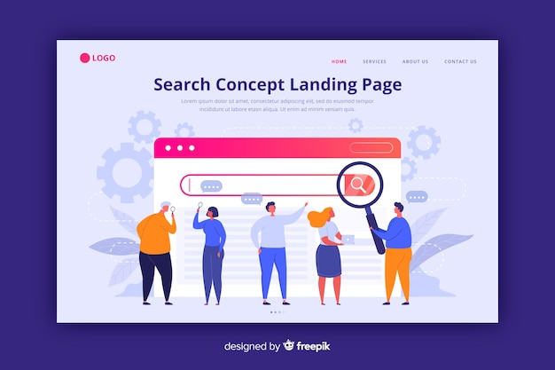Search concept landing page flat style Free Vector