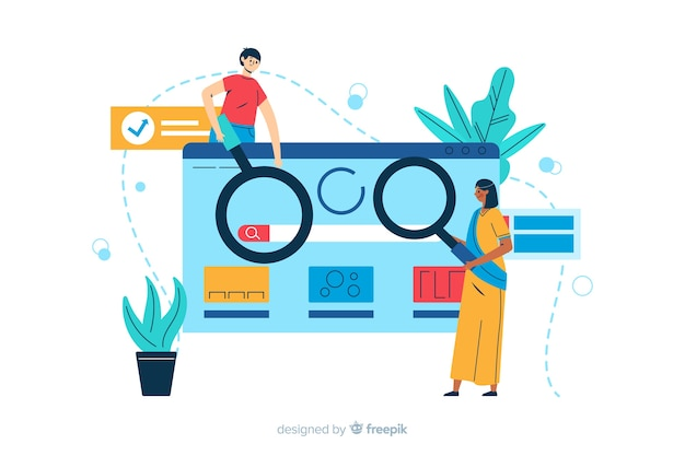 Search concept landing page illustration Free Vector