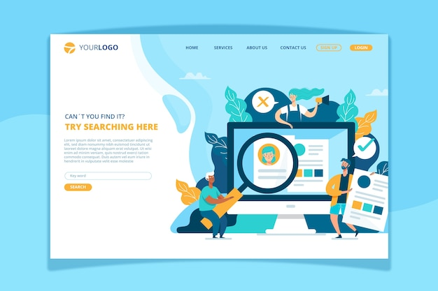 Search concept landing page template Free Vector