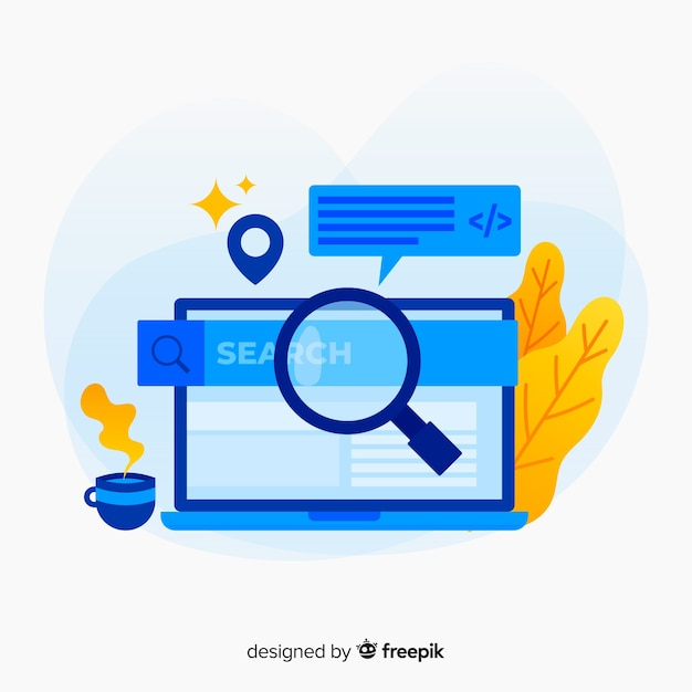 Search concept for landing page Free Vector