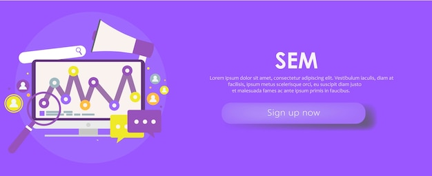Search engine marketing banner. computer with object, diagram, user icon. Free Vector