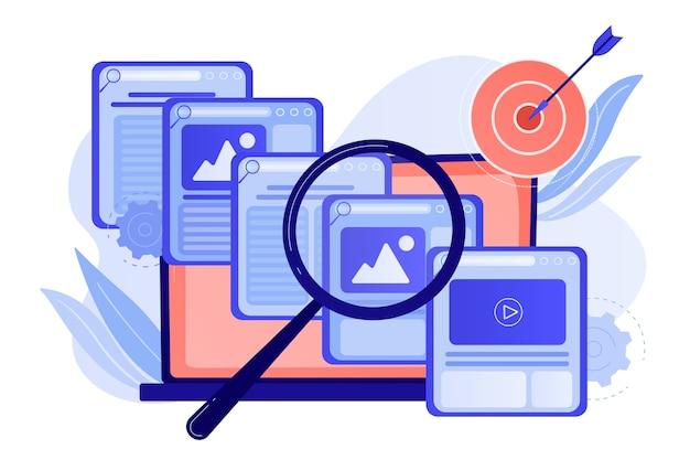 검색 엔진 마케팅 사업. 카피 라이팅 서비스, 콘텐츠 관리 무료 벡터