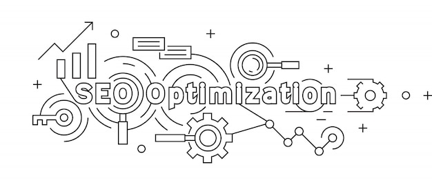 Search engine optimization flat line design concept Premium Vector