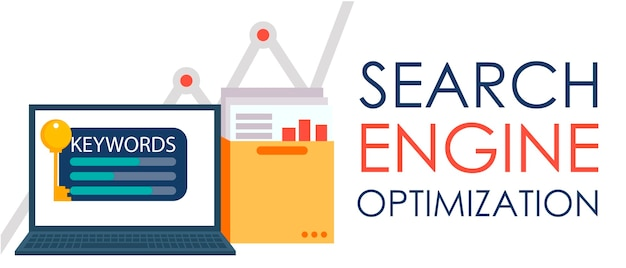 Search engine optimization. laptop with a folder of documents and graphs and key. Free Vector