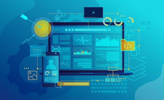 Search engine optimization program gui design Premium Vector