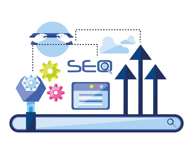 Search Engine Optimization Set Icons Vector