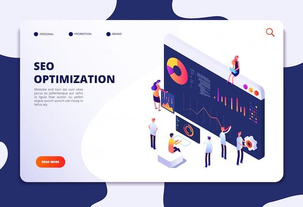 Search engine optimization web template Premium Vector