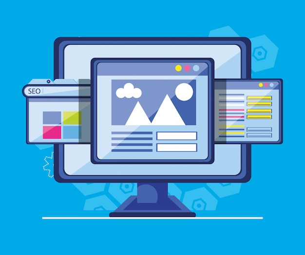 Search engine optimization with desktop Premium Vector