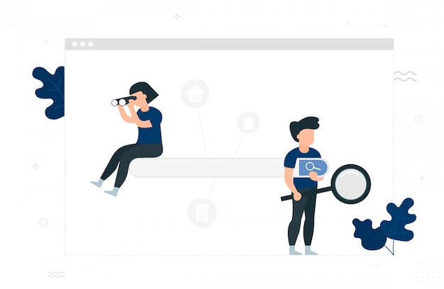 Search engine  . people with magnifying glass and binoculars. Premium Vector