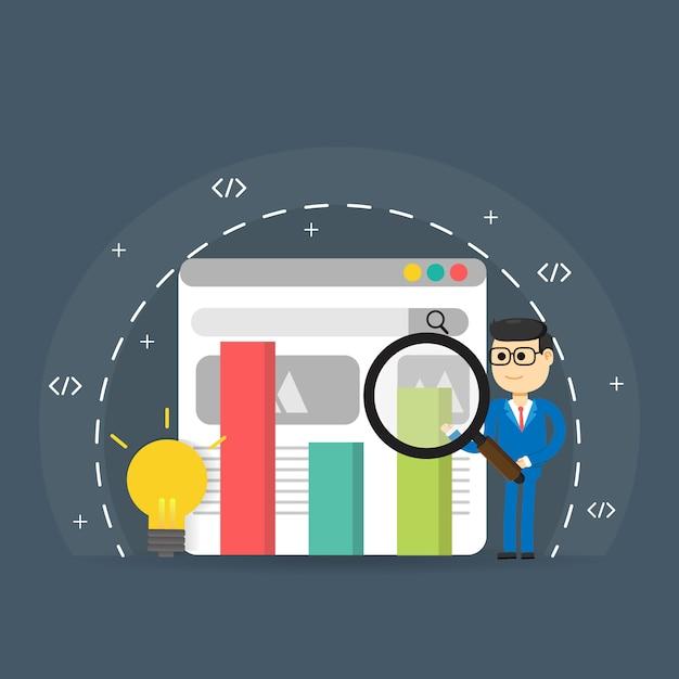 Search engine ranking, search engine analytics, seo success Premium Vector