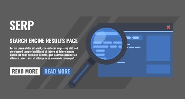 Страница результатов поиска, увеличительное стекло и страница веб-сайта Premium векторы
