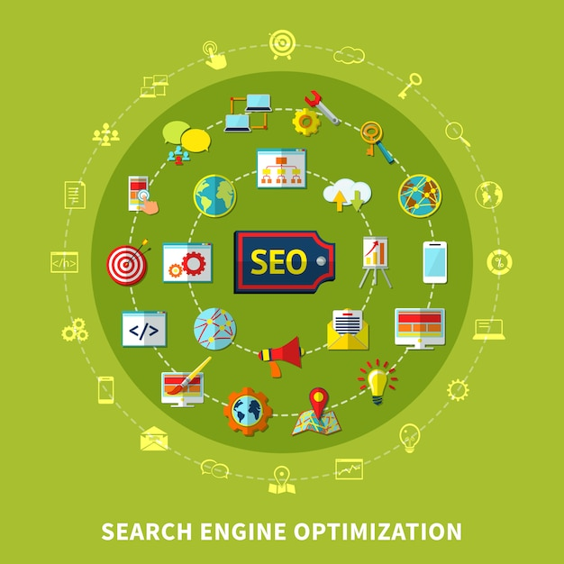 Search engine round composition Free Vector