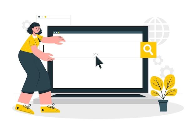 Иллюстрация концепции поисковых систем Бесплатные векторы