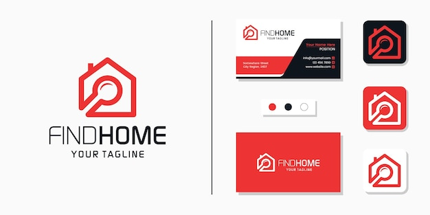 Search home logo and business card design template Premium Vector