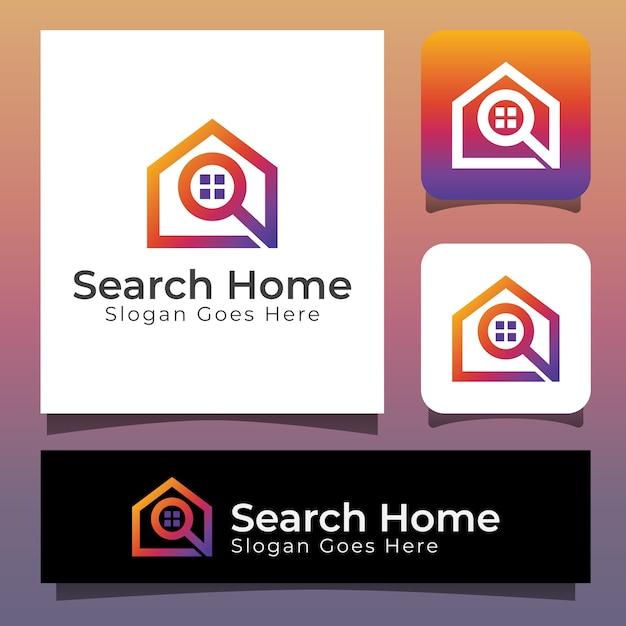 Поиск дома логотип, дизайн логотипа дома поиск недвижимости Premium векторы