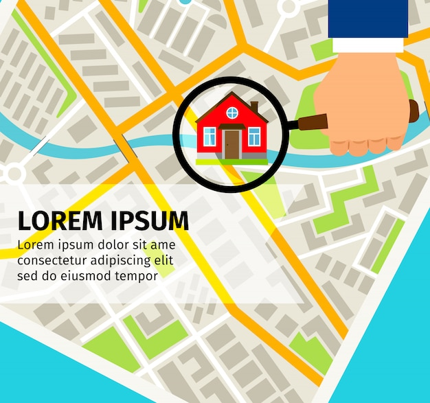 Search house on map concept Premium Vector