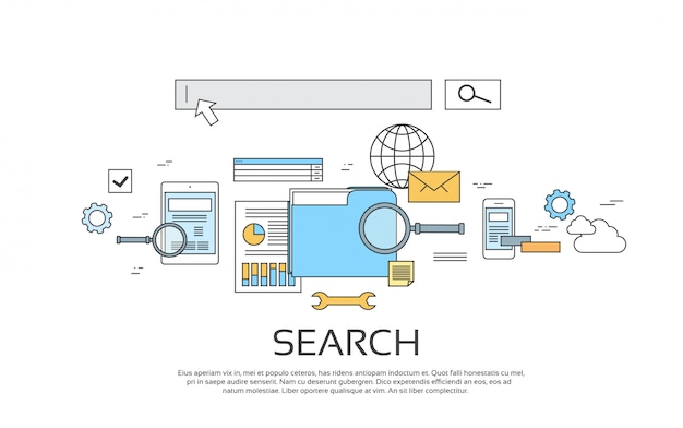 Search information online technology set icon Premium Vector