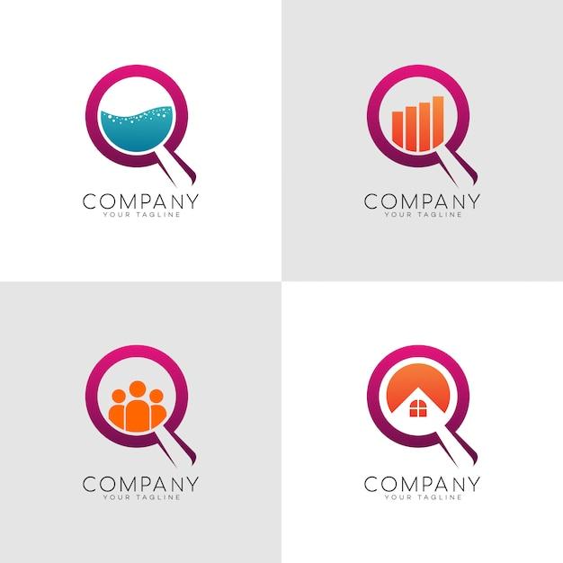 Search lab logo Premium Vector
