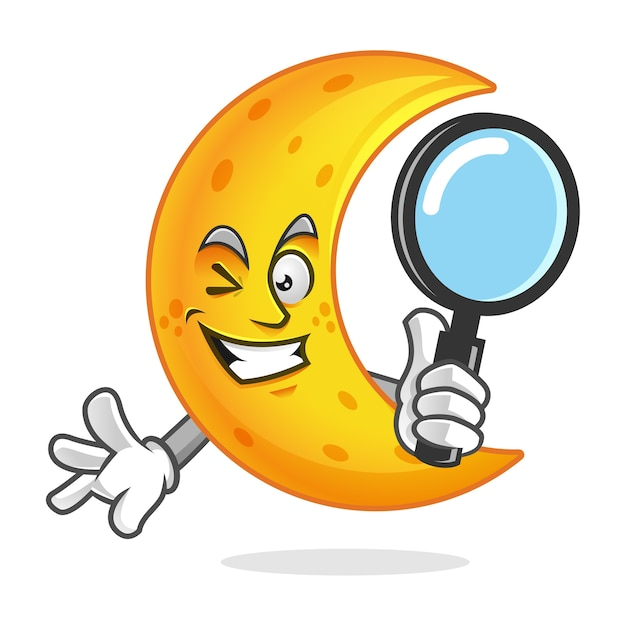 Search moon mascot holding magnifying glass Premium Vector