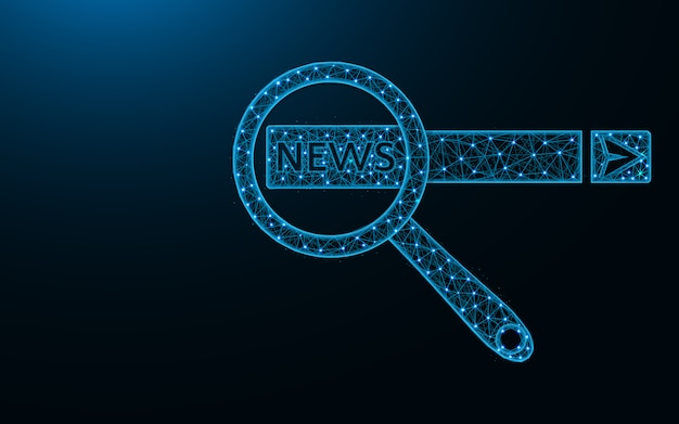Search news on the internet low poly design Premium Vector