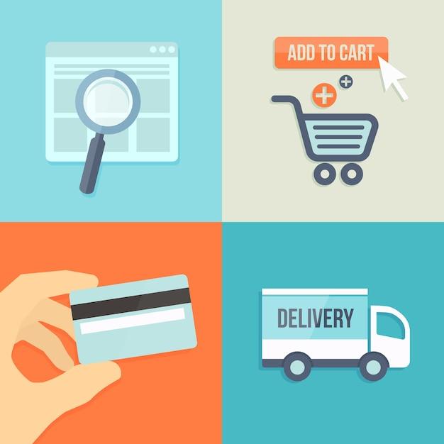 온라인 상점을위한 평면 디자인 스타일로 검색, 주문, 결제, 배송 무료 벡터