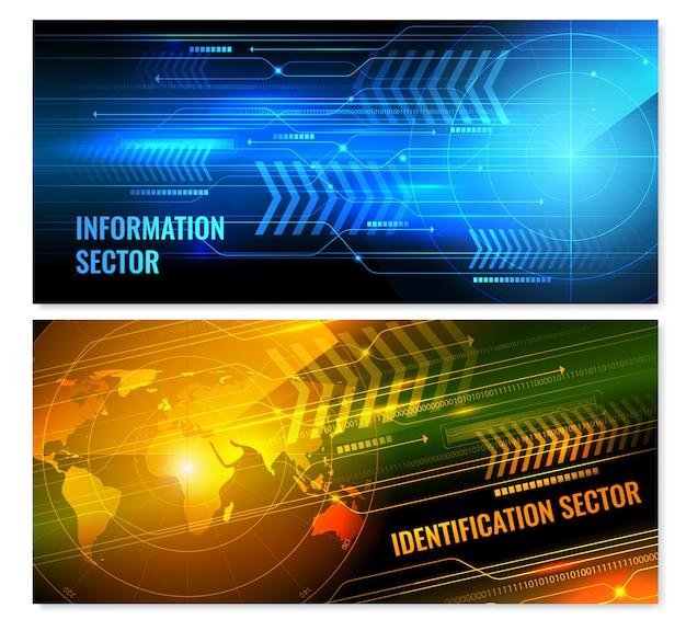 Search radar horizontal banners Free Vector