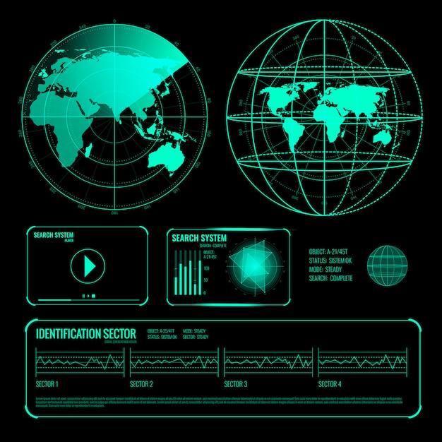 Search radar screen blue elements set Free Vector
