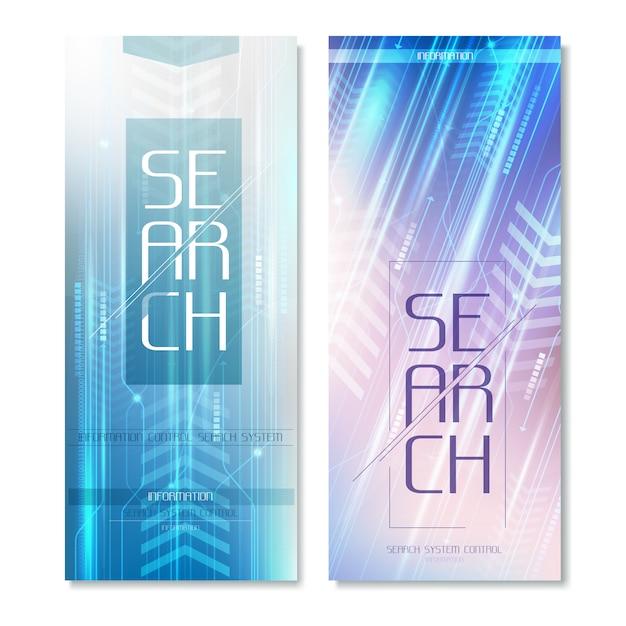 Search radar vertical banners Premium Vector