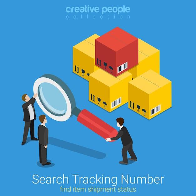 追跡番号フラットアイソメトリックを検索 無料ベクター