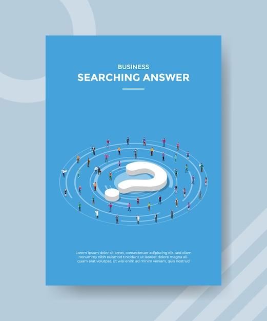 Концепция поиска ответа для шаблона флаера для печати в изометрическом стиле Бесплатные векторы
