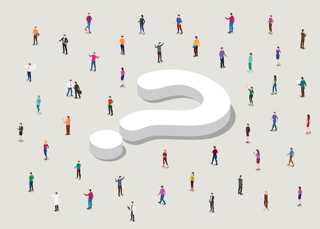 Searching for answer concept with big question mark and people circle around with modern isometric style illustration Free Vector