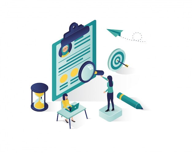 Searching for candidate isometric illustration, Premium Vector