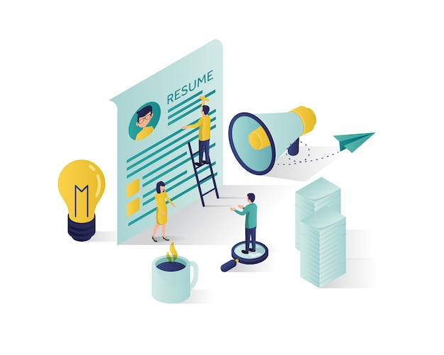 Searching for candidate isometric illustration. Premium Vector