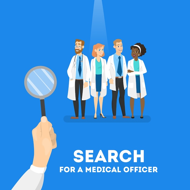 의사 개념을 검색합니다. 병원 직원이 필요합니다. 돋보기로 전문가를 찾고 있습니다. 삽화 프리미엄 벡터