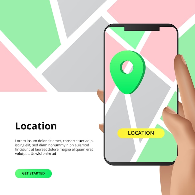 Searching location maps sharing concept. for business, market, shopping direction with smarthphone app with hand illustration. Premium Vector